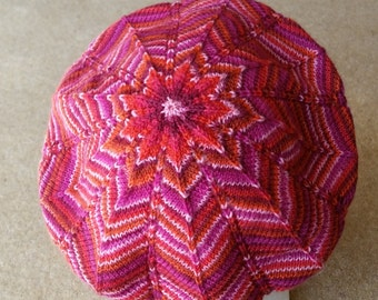 Starburst Slouchy Beret / Tam / Hat  - Colourway Chilli - FREE SHIPPING WORLDWIDE