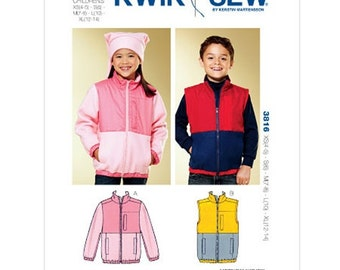 KIDS CLOTHES PATTERN / Make Jacket - Vest / Boy - Girl Size 4 to 14 / Fall - Winter Clothes
