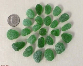 24 Well Frosted Pieces GREEN Beach Gathered Sea Glass for Jewelry Making, THICK NUGGETS