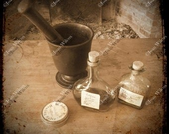 TTV Photo Colonial Pharmacy Antique Artifacts Mortar and Pestle Bottles 19th Century Historic Genesee Country Museum Sepia Photography Print