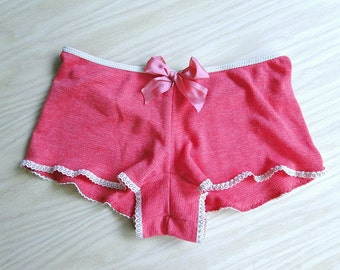 Organic cotton pajama shorts, coral with nude trim, organic lingerie, organic hipster shorts, made to order