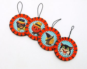 Halloween Ornaments with Vintage Style Images (Set of 4)