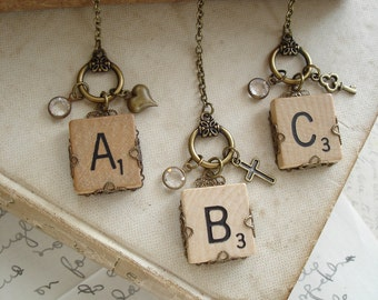 SCRABBLE Letter Necklace. Custom Initial Necklace. Eco Friendly Personalized Letter A B C D E F G H I L N O P Q R S T U V W X Y Z Necklace.