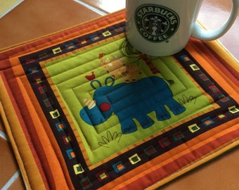 Rhinoceros snack mat - oversized coaster - mini placemat - Mug Rug / children / quilted / gift idea / zoo / animal party / amy schimler