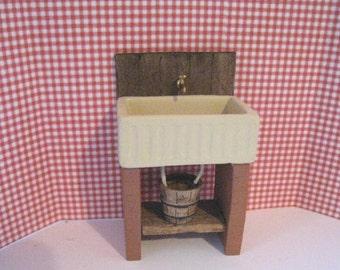 Dollhouse Kitchen sink, . small  sink, dark oak sink,   country sink stone sink , twelfth scale, dollhouse miniature