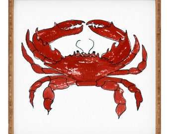 Red Crab Square Tray