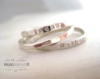 Stackable Stacking Ring . Personalized . Teeny Tiny Stacking Ring . Hand Stamped . Hammered . Brag About It . Teeny Tiny Brag Band