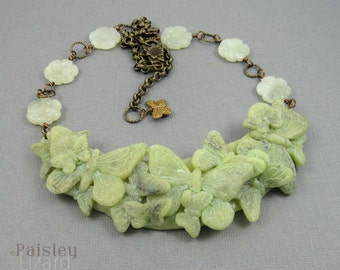 Jade Green Butterfly Bib Necklace, polymer clay collage and gemstone beads on antiqued brass chain, adjustable length