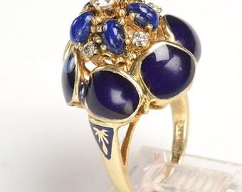 Handmade 1940's Ring: 14kt, Diamonds, Lapis Lazuli, Cobalt Blue Enamel