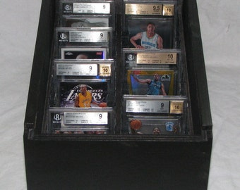 Wooden box holds 22 BGS Beckett Graded Sportcards with slide out lid