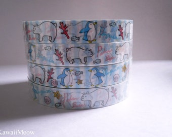 Kawaii Deco Tape - Penguin and White Bear  1 PC / 1.5cm wide x 25m (0.7in x 27 yards)