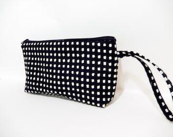 Black and White Mini Squares Wristlet, Mini Purse, Handbag, Cell Phone Wallet, Fabric Wristlet, Black and White Bag, Clutch, Japanese Import
