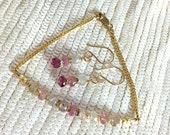 Umba Sapphire Bracelet Minimalist Gold Fill Chain September Birthstone Pink Pastel Sapphire Gemstone Stacking Bracelet Delicate Bracelet