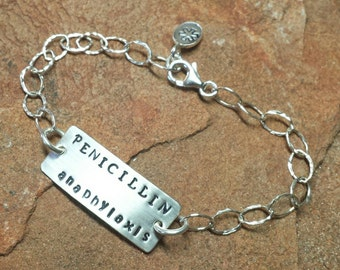 Sterling Silver Medical ID or Personalized Medic Alert Bracelet  - Diabetes Asthma Penicillin Allergy - Handmade to Order