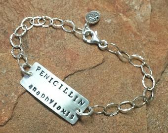 Sterling Silver Medical ID or Personalized Medic Alert Bracelet  - Diabetes Asthma Penicillin Allergy - Handmade to Order
