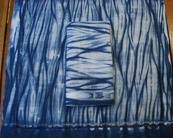 Blue Linen Napkins, Set of Two Blue Cloth Napkins, Hand Dyed Shibori Design