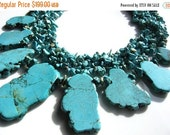 SALE 30% off Turquoise Sea Green Bib Statement Handmade Necklace