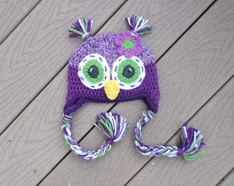 Purple owl hat     Made to order in any size newborn to adult