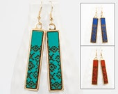 Wood Dangle Earrings - Southwest Pattern Laser Engraved (Brass Setting / Choose Your Color) Hypoallergenic