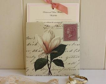 Vintage Wedding - English Country Wedding - Handmade Wedding Stationery - Personalised - Ivory - Magnolia