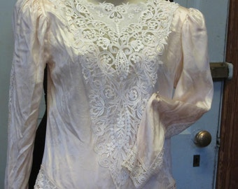 Jessica McClintock Pink Silk and Lace Two Piece Formal Ensemble Vintage Wedding/Victorian/Downton Abby/SteamPunk Costume