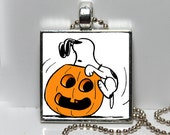 Vintage Snoopy Peanuts Halloween Pumpkin Jack O Lantern Granddaughter Gift Altered Art Charm Necklace