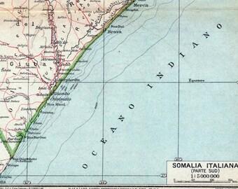 Antique Map of Somalia - Italian Somaliland, Southern Part - 1929 Vintage Map
