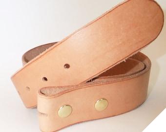 "Veggie Tan Natural Medium Leather  Belt 1 1/2"""
