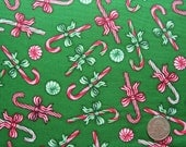COUPON Code SALE - Christmas Elegance, Candy Canes, Green, Dan Morris, RJR Fabrics, 100% Cotton Quilt Fabric, Quilting Fabric