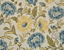 COUPON Sale - RJR Fabric, Monticello, Blue Yellow Floral, Jinny Beyer, 100% Cotton Quilt Fabric, Quilting Fabric, SELECT a Size