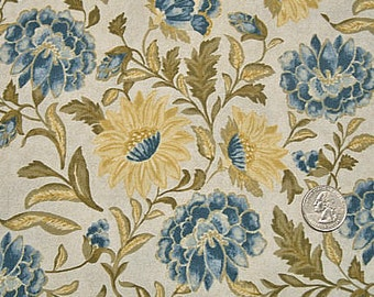CLEARANCE - RJR Fabric, Monticello, Blue and Yellow Floral Fabric, Jinny Beyer, 100% Cotton Quilt Fabric, Quilting Fabric, SELECT a Size