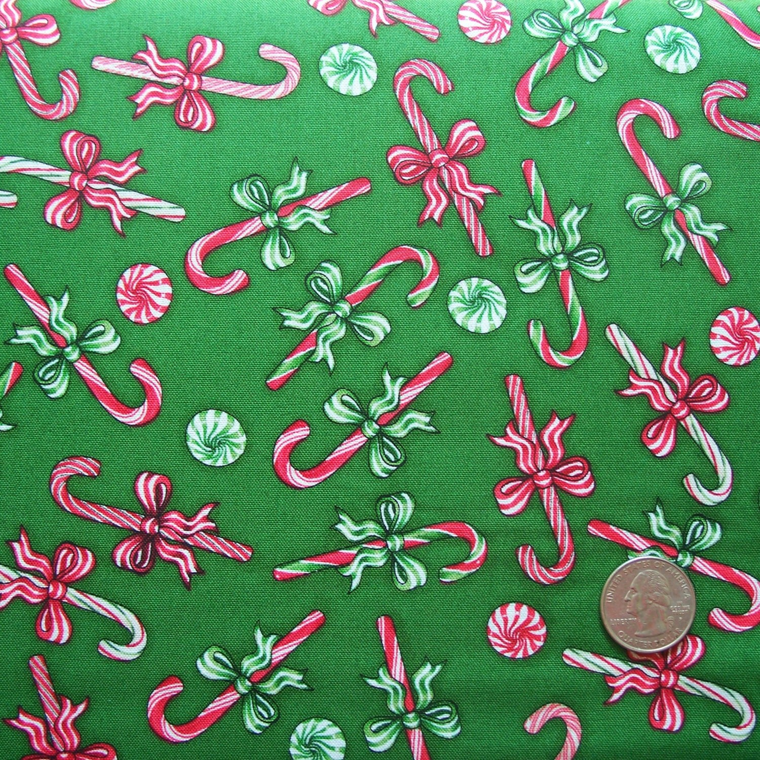 Sale end of bolt christmas elegance candy canes green for Quilting fabric sale