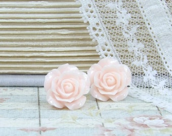 Pink Rose Earrings Rose Studs Blush Pink Earrings Rose Stud Earrings Pink Studs Shabby Chic Jewelry