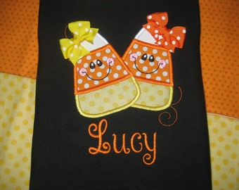 Candy Corn Fall Halloween Monogrammed short sleeve Black shirt
