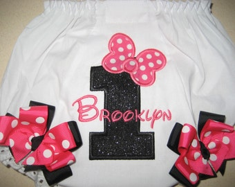 Boutique First Birthday Bow Miss Mouse Bloomers with bows