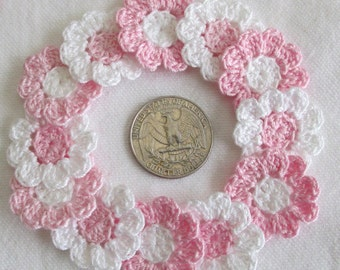 Tiny Crochet Flowers, 12 Small Handmade Appliques, Baby Pink and White