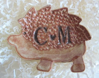 Hedgehog ring holder dish, In Stock with initials C and M, ring dish, wedding present