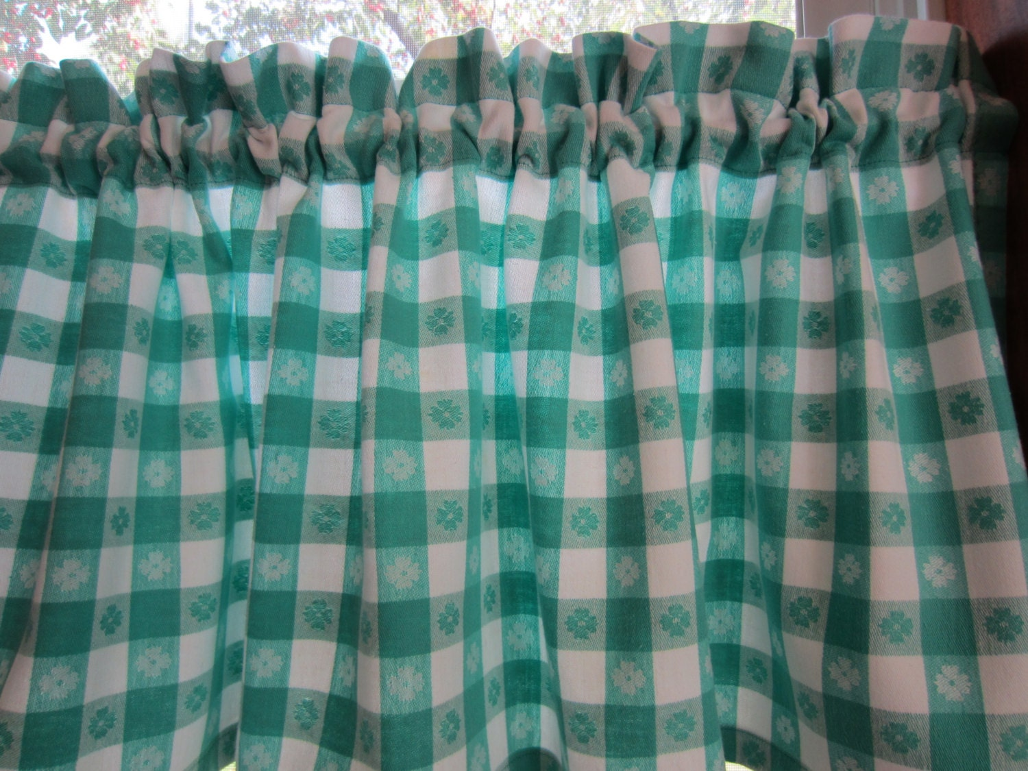 retro curtain valance turquoise check 52 x 15