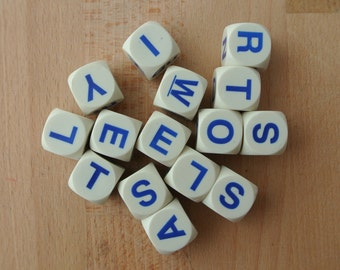 Fun Lot of 14 Chunky Plastic Letter Dice White Dice with Blue Letters