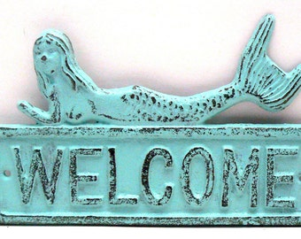 Mermaid Welcome Door Sign Wall Decor Beach Blue Distressed Cottage Chic Nautical Beach House Greeting Plaque
