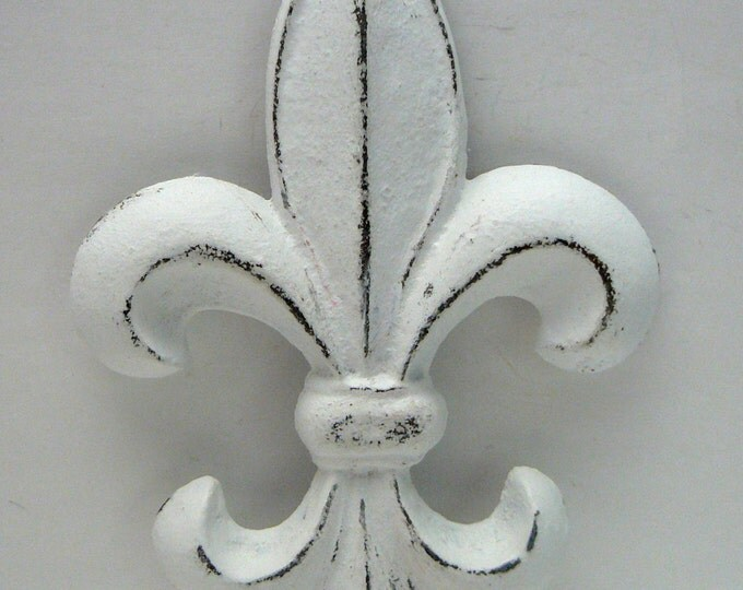 Fleur de lis FDL Cast Iron Shabby Chic White Wall Art Home Decor