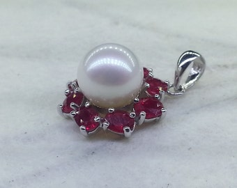 14K White Gold Set With Pinkish White Culture Pearl and Red Ruby Pendant