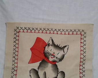 Pair of pillow casings, unfinished, handmade. Kitten and puppy