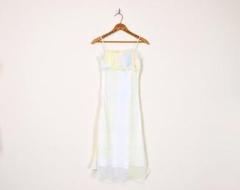 Vintage 90s Pastel Rainbow Tie-Dye Print Sheer Chiffon Ruch Ruffle Empire Waist Mini Dress Midi Dress 90s Dress 90s Grunge Club Kid XXXS XXS