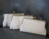 Champagne Bridesmaid Clutch | Bridesmaid Gift Idea | Lace Wedding Clutch Purse [Champagne Clutch Set]
