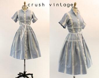 50s Shirtwaist Dress Medium / 1950s Cotton Blue Plaid Dress / Alison Ayres Dress