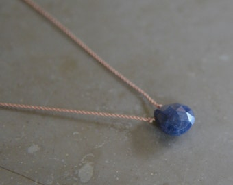 Sapphire Necklace September Birthstone on Silk Cord