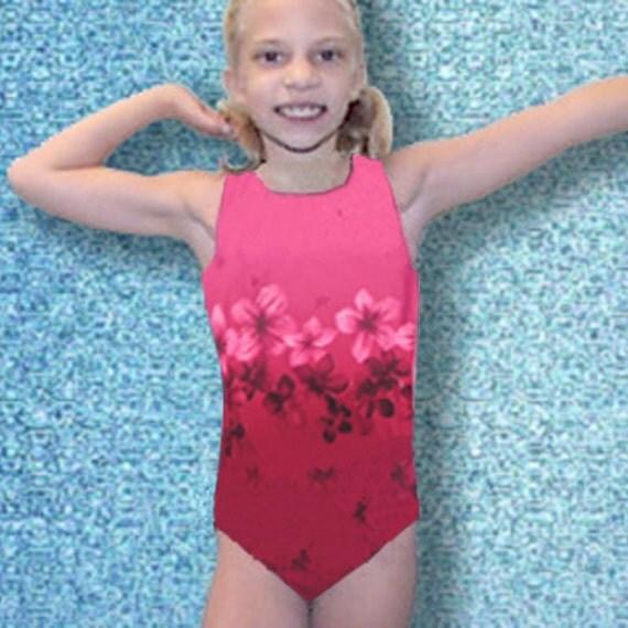 Girls Gymnastics Leotard Child  size 2 4 6 8 10 12 floral design pinks burgundy New Youth tank gym leo