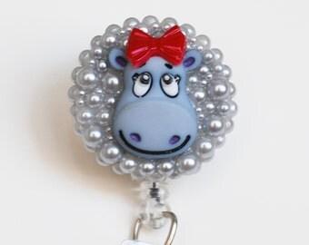 Girly Hippo ID Badge Reel - Retractable ID Badge Holder - Nurse ID Badge - Zipperedheart