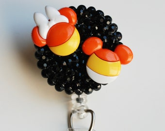 Halloween Candy Corn Minnie And MIckey Mouse ID Badge Reel - Retractable ID Badge Holder - Zipperedheart
